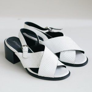 Jeffrey Campbell White Snakeskin Leather Sandals